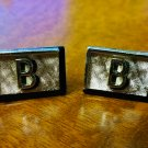 "Swank Cufflinks - Initial ""B"" on Black Background-Silver Tone"