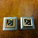 Vintage SWANK Cufflinks Letter E Initial Shadow Box