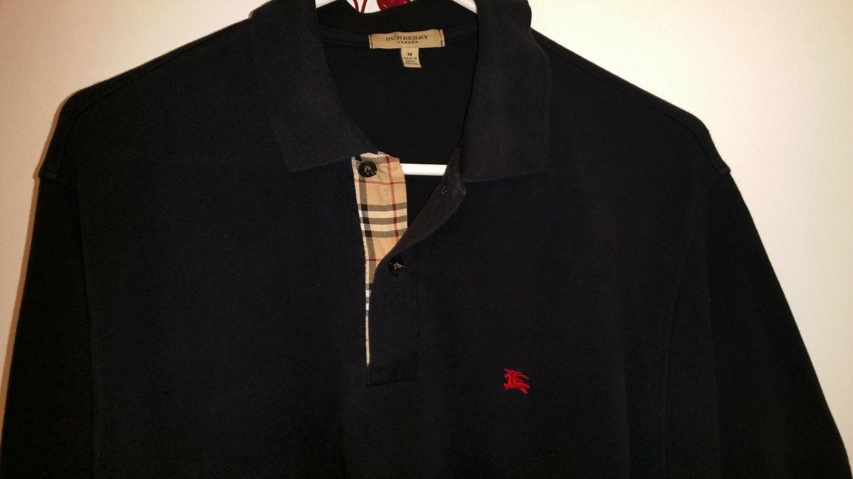 Burberry London Black Nova Plaid Polo Shirt Men's Size:  M