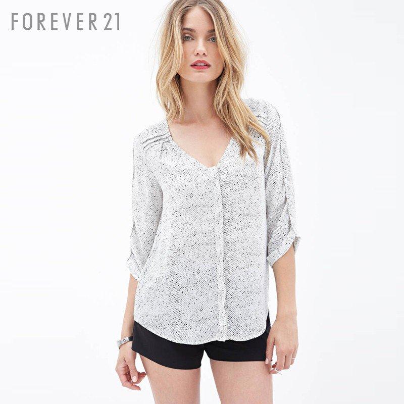 FOREVER21 Shuiyu wave point chiffon sleeve blouse