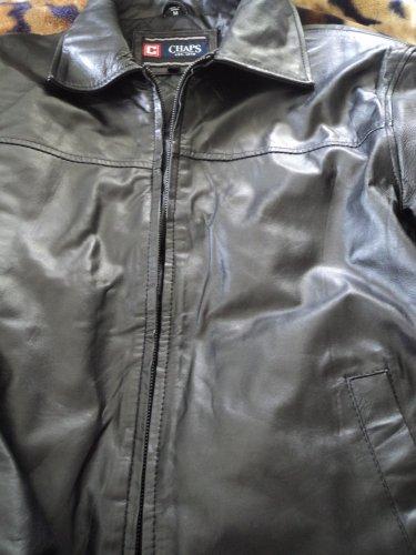 Brand New Mens Chaps Leather Coat size M Black color