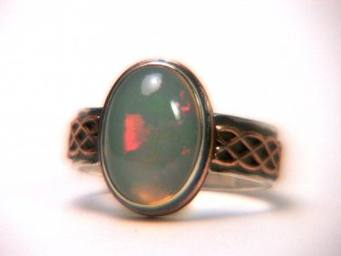 Natural Opal Silver Ring