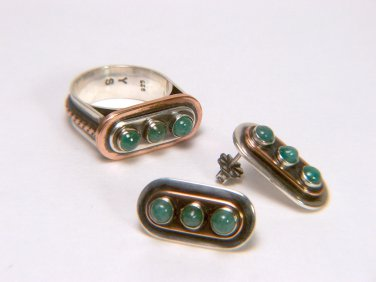 Natural Colombian Emeralds Ring & Earrings Set