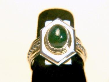 3 Carats Natural Emerald Silver and 14K Gold Ring