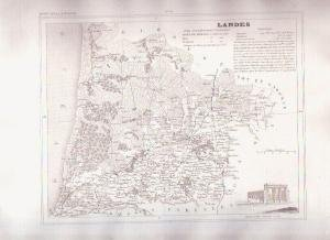 LANDES FRANCE 1835 Antique Atlas French Map Maps Cartography