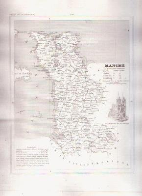MANCHE FRANCE 1835 Antique Atlas French Map Maps Cartography