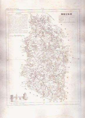 MEUSE FRANCE 1835 Antique Atlas Map Maps Cartography