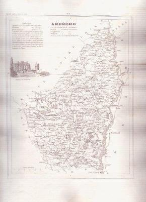 ARDECHE FRANCE 1835 Antique Atlas French Map Maps Cartography