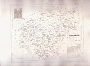 CORREZE TULLE FRANCE 1835 Antique Atlas Map Cartography