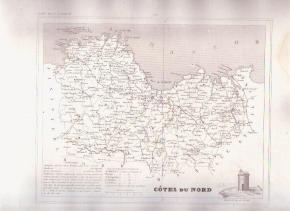 COTES DU NORD FRANCE 1835 Antique Atlas Map Cartography