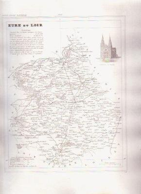 EURE ET LOIR FRANCE 1835 Antique Atlas Map Cartography