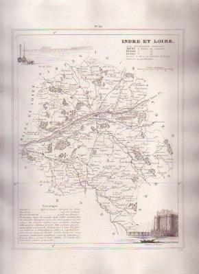 INDRE ET LOIRE TOURS FRANCE 1835 Antique Atlas Map Maps