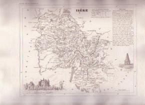 ISERE GRENOBLE FRANCE 1835 Antique Atlas Map Maps