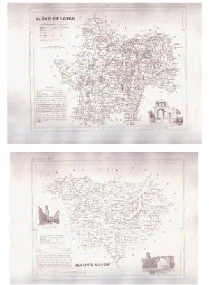 1835 SAONE LOIRE France Antique Atlas Maps Cartography