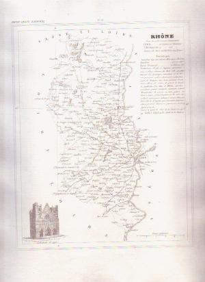 1835 RHONE LYON France Antique Atlas Map Cartography