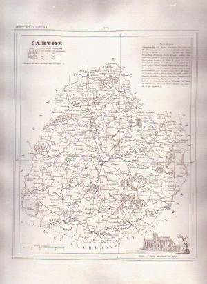 1835 SARTHE LEMANS France Antique Atlas Map Cartography