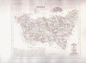 1835 VOSGES France Antique French map Maps Cartography