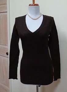 $198.00 - NWT- JUICY COUTURE Cocoa Brown 100% Cashmere  V-Neck Sweater - Size S