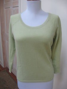 EUC - ANN TAYLOR Light Heather Green 100% Cashmere Round Neck Sweater - Size S