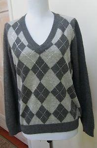 EUC - CHARTER CLUB Dark Heather Gray Argyle 100% Cashmere V-Neck Sweater -Size M