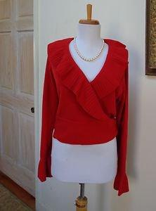 EUC - SUTTON STUDIO True Red 100% Cashmere Ruffle Side Tie Cardigan - Size M