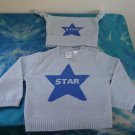 NWOT - BABY GAP Baby Boy's Blue 100% Cashmere 'Star' Sweater & Cap- 3 to 6 mths