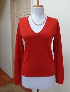 EUC - EVELYN GRACE Burnt Orange 100% Cashmere V-Neck Sweater - Size S