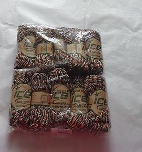 NIP-10 Skeins *ICE* Orange/Dk. Green/White 100% 6-Ply Cashmere Yarn 30 g/Skein