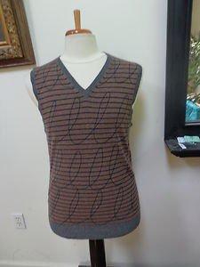 EUC - ADAM Brown and Black Stripe 100% Cashmere V-Neck Sweater/Vest- Size M