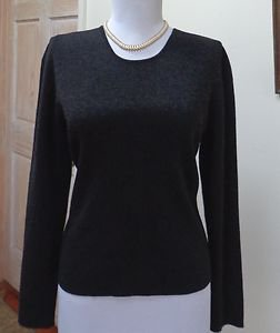 NWOT - DANA BUCHMAN Charcoal Gray 100% Pure New Wool Crewneck Sweater - Size PM