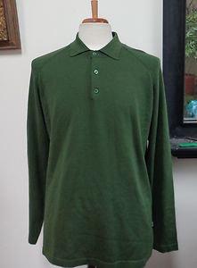 EUC - TOMMY BAHAMA Man's Dark Green Silk/Nylon Blend Polo Neck Top - Size M