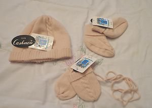 NWT-PORTOLANO Baby Girl's Soft Pink 100% Cashmere Mittens, Booties, Hat-6 to 9 M