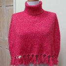 EUC-Stunning THALIAN Red with White Flecks Turtleneck Wrap/Shrug/Poncho - Size S