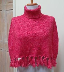 EUC-Stunning THALIAN Red with White Flecks Turtleneck Wrap/Shrug/Poncho - Size S