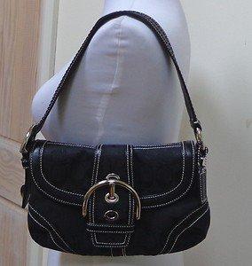 EUC -AUTHENTIC *COACH* Black Signature 'C' Jaquard & Leather Shoulder Bag #10296