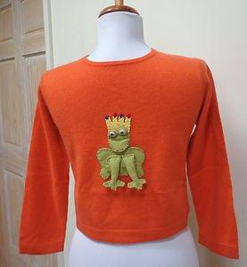 NWOT-CASHMIRACLES Boy/Girl's Orange 100% Cashmere Frog Applique Sweater- Size 7T