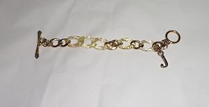 AUTHENTIC JUICY COUTURE GOLD-TONE & RESIN STARTER CHARM TOGGLE CHAIN BRACELET