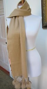 """$149.00 - NWOT - COCHNI, ITALY LONG BEIGE 100% CASHMERE SCARF - 70"""" x 12"""""""
