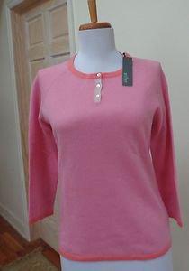 NWT - GRIFFEN Heather Pink 100% Cashmere Round Neck Sweater - Size S - Stunning!