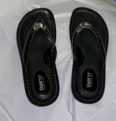 EUC - Fabulous BORN Black Genuine Leather Sandals/Flip-Flop/Shoes - Size 10/42