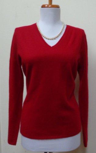 EUC - VALERIE STEVENS Deep Red 100% Cashmere V-Neck Sweater - Size S - Beauty!