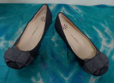 EUC -ISAAC MIZRAHI LIVE Charcoal Fabric Over Leather Ballet Shoes - Size 8 1/2 M