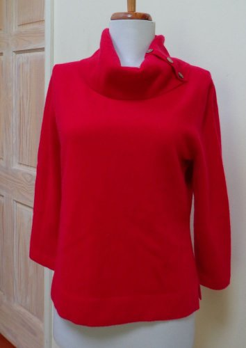 EUC-JONES NEWYORK COLLECTION True Red 100% Cashmere Shawl Collar Sweater-Size PM