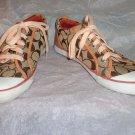 EUC-COACH *BARRETT* Brown & White Sig. C Jacquard Canvas Athletic Shoes-Size 8B