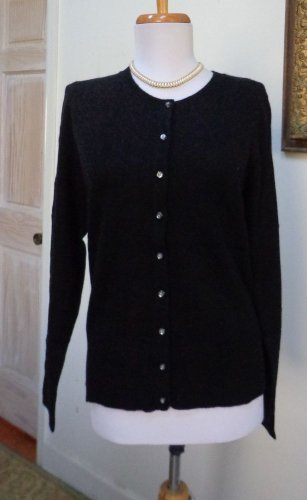 $125.00 -NWT - APT. 9 Black 100% Cashmere Button Front Cardigan/Sweater - Size L