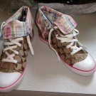 EUC - COACH *BONNEY* Brown/Tan Signature *C* Canvas Athletic Shoes - Size 9 B