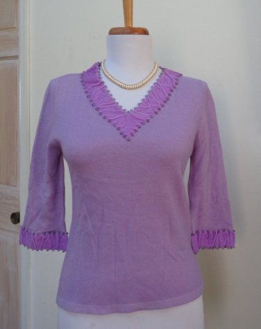 NWT - DENOCK DESIGNS Heather Amethyst 100% Cashmere V-Neck Sweater - Size XS