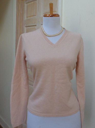 VGUC - TWEEDS Heather pink 100% Cashmere 3/4 Sleeve V-Neck Sweater - Size S