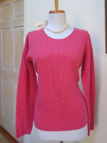$129.00 - NWT -MADISON STUDIO Berry Pink 100% Cashmere Crewneck Sweater - Size M
