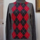 VGUC- APT. 9 Dark Heather Gray Argyle 100% Cashmere Turtleneck Sweater- Size M